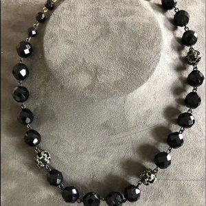Vintage! 1970's Costume Glass Beaded Necklace BLK